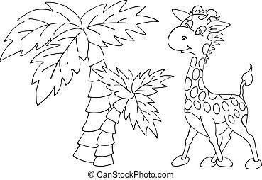 arbre., mignon, illustration, girafe, vecteur, paume