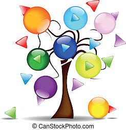 arbre, multi-di, illustration