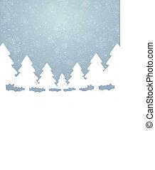 arbre, neige, étoiles, bleu, fond blanc