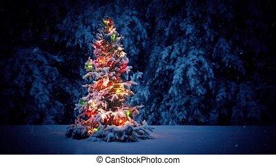 arbre, neige, coloré, noël