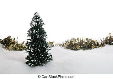 arbre, neige, guirlande, noël