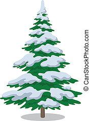 arbre noël, à, neige