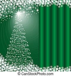 arbre noël, arrière-plan vert