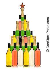 arbre, noël, bouteille, vin