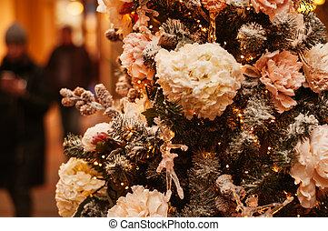 arbre, noël, décoré, beau