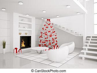 arbre noël, dans, les, moderne, intérieur, 3d, render