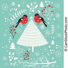 arbre noël, et, oiseaux