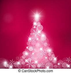 arbre noël, fait, lumière, et, neige émiette
