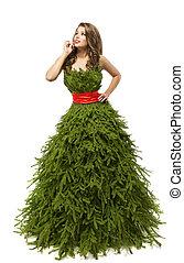 arbre noël, femme, robe, mannequin, dans, créatif, noël, robe, déguisement, isolé