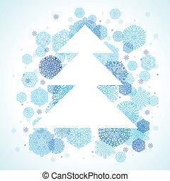 arbre noël, flocons neige