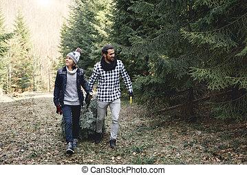 arbre, noël, gai, fils, papa, sien, porter