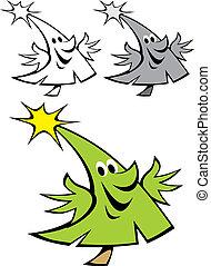 arbre, noël, heureux