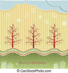 arbre noël, hiver, pin, nuit