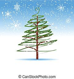 arbre noël, hiver
