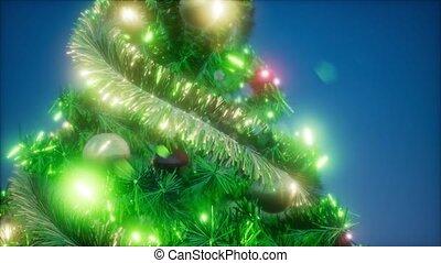 arbre noël, joyeux, coloré, lumières, coup, studio