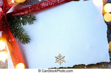 arbre noël, lumière, et, noël, carte voeux