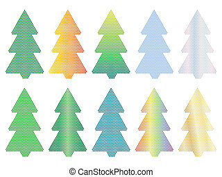 arbre, noël, mosaïque, icônes