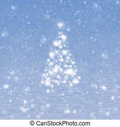 arbre, noël, neige