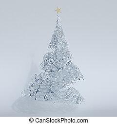 arbre, noël, render, 3d