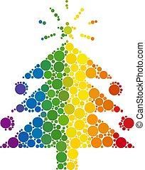 arbre noël, sapin, spectre, composition, cercles, icône