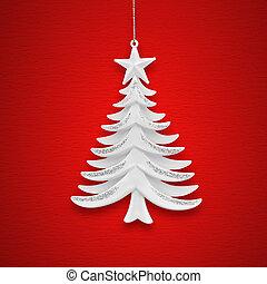 arbre noël, sur, a, fond, de, rouges, papier