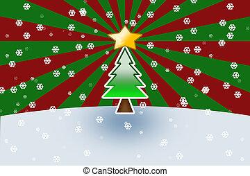 arbre noël, sur, arrière-plan rouge