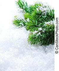 arbre noël, sur, snow., hiver, fond