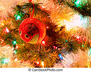 arbre noël, vacances, ornements, accrocher dessus, a, arbre