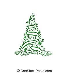 arbre noël, vecteur, illustration
