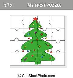 arbre noël, -, vecteur, illustration, puzzle