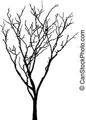 arbre, nu, vecteur, silhouette, noir