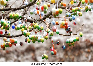 arbre, oeufs, paques