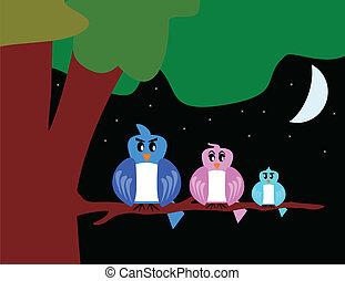 arbre, oiseau, famille, lune