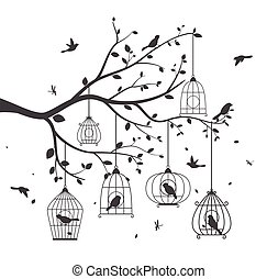 arbre, oiseaux, coloré