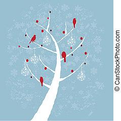 arbre, oiseaux, rouges