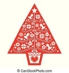 arbre, oiseaux, scandinave, folklorique, noël, vecteur, flocons neige, art, modèle, fleurs, -, conception