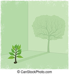 arbre, ombre, sapling, coulage, grand