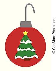 arbre, ornement, noël, joyeux