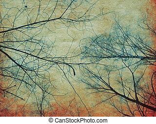 arbre, papier, branches, retro
