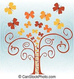 arbre., papillons, voler