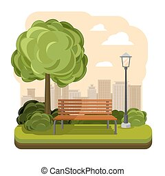 arbre, parc, illustration, vecteur, bench., éclairage public