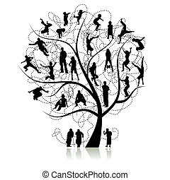 arbre, parents, famille