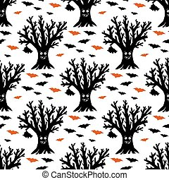 arbre, pattern., halloween, sec, isolé, rigolote, voler, illustration., bats., stockage, pendre, seamless, arrière-plan., blanc, vecteur
