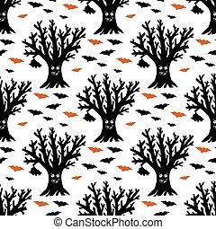 arbre, pattern., halloween, sec, isolé, rigolote, voler, ...
