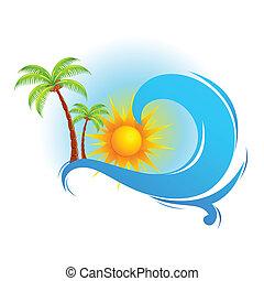 arbre, paume, mer, vague