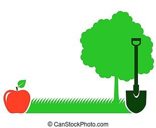 arbre, pelle, herbe, jardin, fond