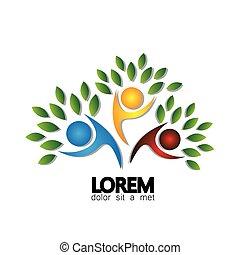 arbre, personne, logo, vecteur, icône, représenter, amitié