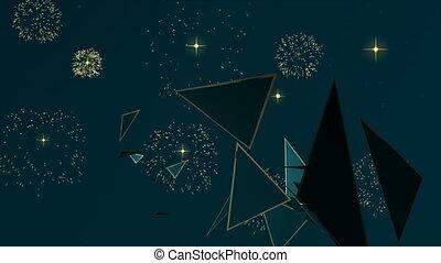 arbre, pin, animation, année, nouveau, noël carte
