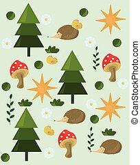 arbre, pin, champignons, vecteur, fond, forrest