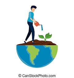 arbre plantant, jeune, terre planète, homme